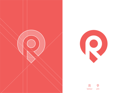 R Location Pin - Logo Design tracking app location pin negative space logo design logomark letter r lettermark grid layout for sale unused buy clever smart modern branding brand identity