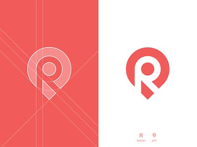 R Location Pin - Logo Design tracking app location pin negative space logo design logomark letter r lettermark grid layout for sale unused buy clever smart modern branding brand identity