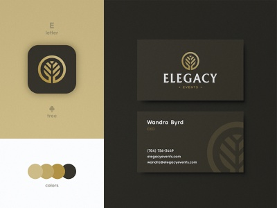 Elegacy Events - Business Card Design typography smart mark logomark serif typeface logotype gold tree business card logo design identity designer branding luxury brand
