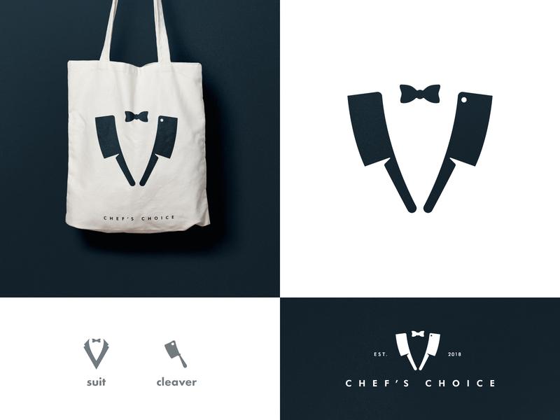 Chef's Choice - Brand Identity Design black and white negative space visual identity smart mark bag design restaurant logo branding brand identity suit cleaver logotype designer chef