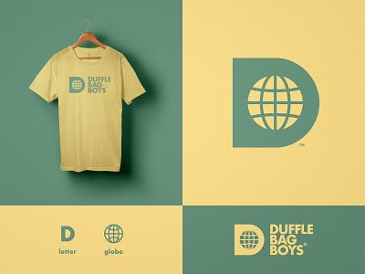 Duffle Bag Boys - Brand Identity Design apparel design streetwear fashion logo worldwide globe world earth negative space d letter branding brand identity tshirt