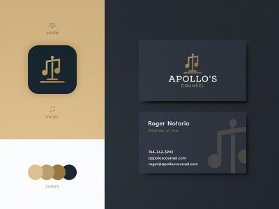 Apollo's Counsel - Business Card Design balance scale music icon smart mark serif typeface luxury brand logotype logomark logo design identity designer gold business card branding