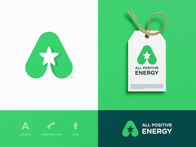All Positive Energy - Brand Identity Design lettermark typography smart mark shooting star negative space logo logotype designer logomark label design green app branding agency brand identity a letter a day