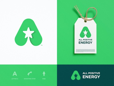 All Positive Energy - Brand Identity Design lettermark typography smart mark shooting star negative space logo logotype designer logomark label design green app branding agency brand identity a letter a day