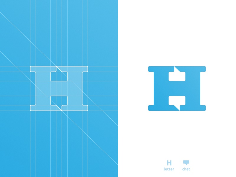 H Chat Boxes - Logo Design h letter smart mark chat box negative space logomark logo design grid layout for sale unused buy clever branding brand identity 36daysoftype