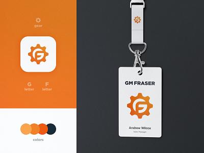 GM Fraser - Brand Identity Design lettermark logomark negative space app icon gear logo lanyard smart mark logotype designer branding brand identity g letter cog