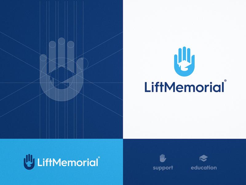 Lift Memorial - Logo Design support education website logomark grid design negative space hand logo graduation cap smart mark logotype designer identity branding brand