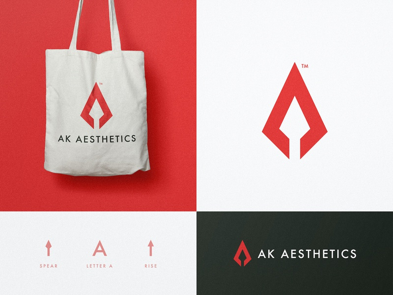 AK Aesthetics - Brand Design logomark smart mark arrow logo spear negative space logotype identity designer bag design branding brand arrow head a letter a day