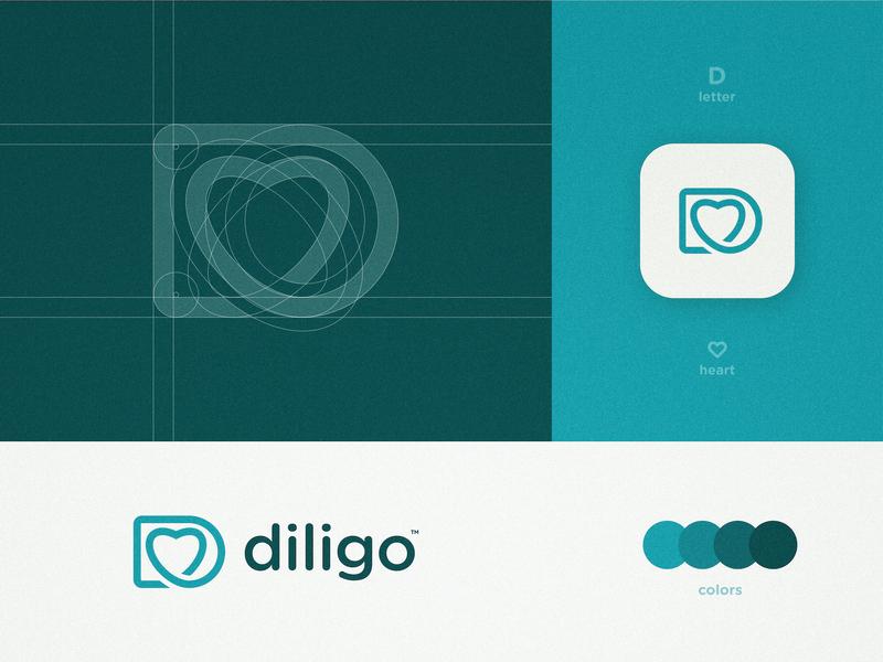 Diligo - Logo Grid Structure ecommerce app online store brand identity branding letter d lettermark heart logo monoline logotype designer grid design beauty product skincare