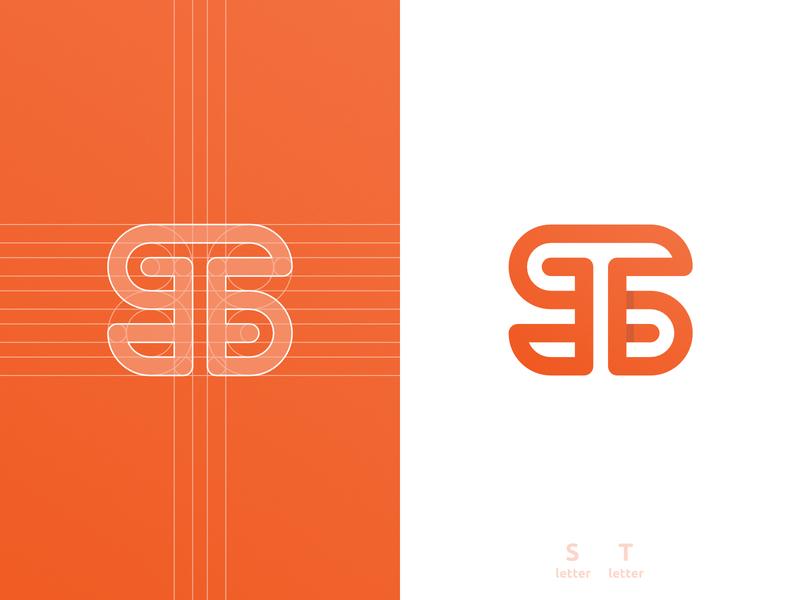 ST Logo Design flow monoline smart mark s letter negative space logomark logo design grid layout for sale unused buy clever branding brand identity