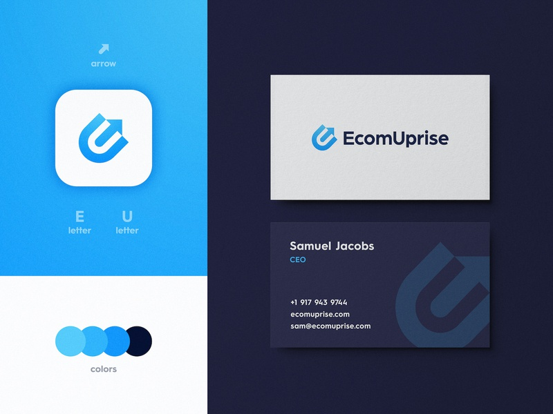 Ecom Uprise - Brand Identity Design logotype designer business card brand identity logo design branding arrow letter e online store dropshipping e-commerce shop e commerce ecommerce app