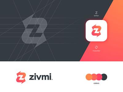 Zivmi - Brand Identity Design logomark speed smart mark payment app negative space fast arrows transfer letter z logotype designer branding brand identity