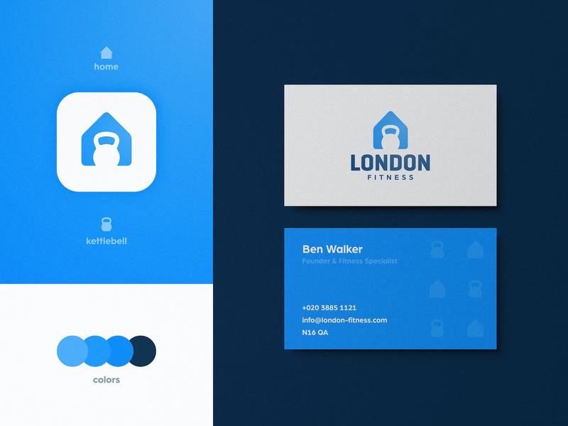 London Fitness - Business Card Design crossfit gym negative space modern logotype designer logomark house kettlebell business card branding brand identity app logo design