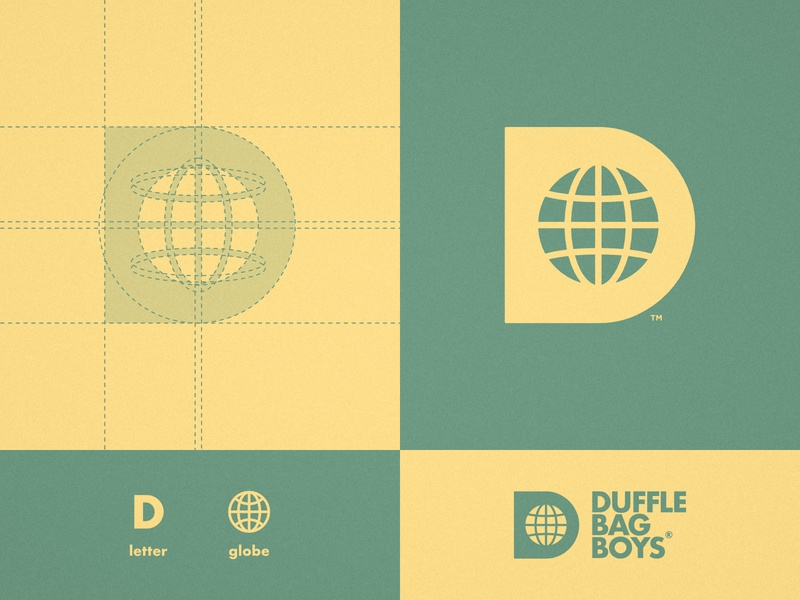 Duffle Bag Boys - Logo Design worldwide world tshirt streetwear negative space globe apparel logo fashion earth d letter branding brand identity apparel design