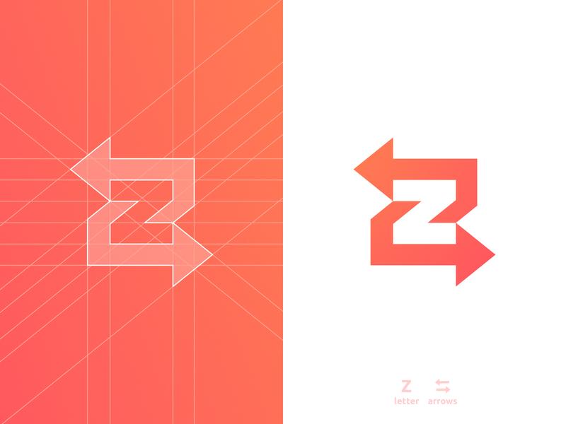 Z Arrows - Logo Design lettermark smart mark p letter negative space logomark logo design grid layout clever for sale unused buy branding brand identity 36 days of type