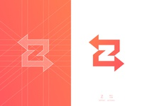 Z Arrows - Logo Design lettermark smart mark p letter negative space logomark logo design grid layout clever for sale unused buy branding brand identity 36 days of type