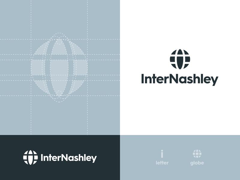 InterNashley - Brand Identity Design grid design grid logo grid logo mark blue and grey blue logo logodesign logo brand identity identity global creative logo smart logo globe logo globe
