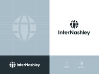 InterNashley - Brand Identity Design logo design logomark negative space rebrand identity design branding i logo grid design blue logo brand identity globe logo