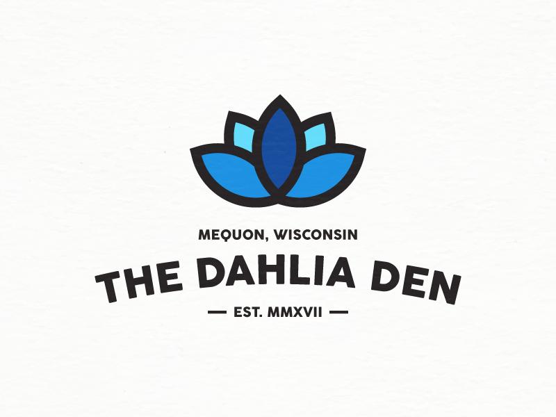 The Dahlia Den symbol icon mark design logo lotus blue plant flower bloom lily dahlia