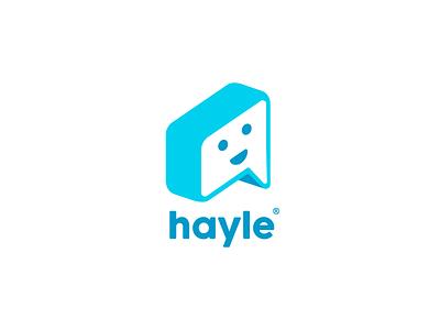 Hayle icon logo bubble chatbot app text talk emoji smile chat chatbox