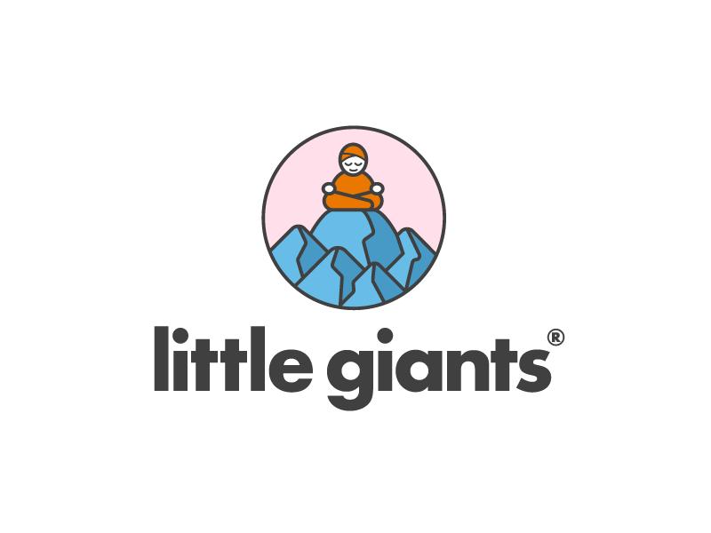 Little Giants - Logo Design logotype logo mountain meditation boy therapy children young child kid giant little