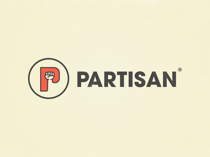 Partisan negative space logotype icon logo comrade revolution soviet communist political fist partisan p