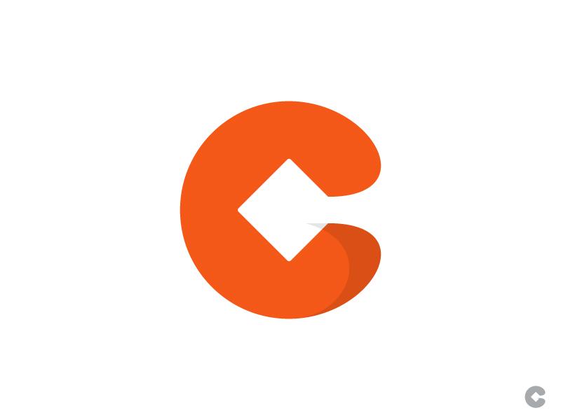 C Square identity symbol square orange negative space mark logo george bokhua design crate c box