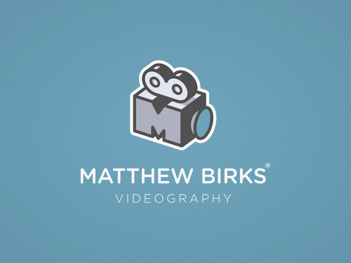 Matthew Birks Videography - Logo Design symbol identity mark icon logotype logo movie monogram video film camera videographer videography
