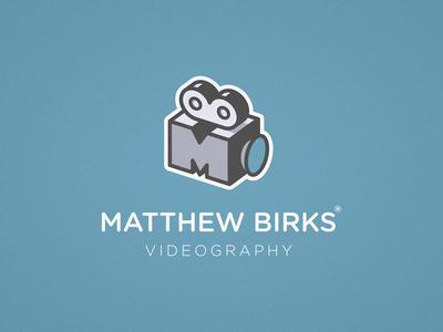 Matthew Birks Videography - Logo Design symbol identity mark icon logotype logo movie monogram video film camera videographer videography