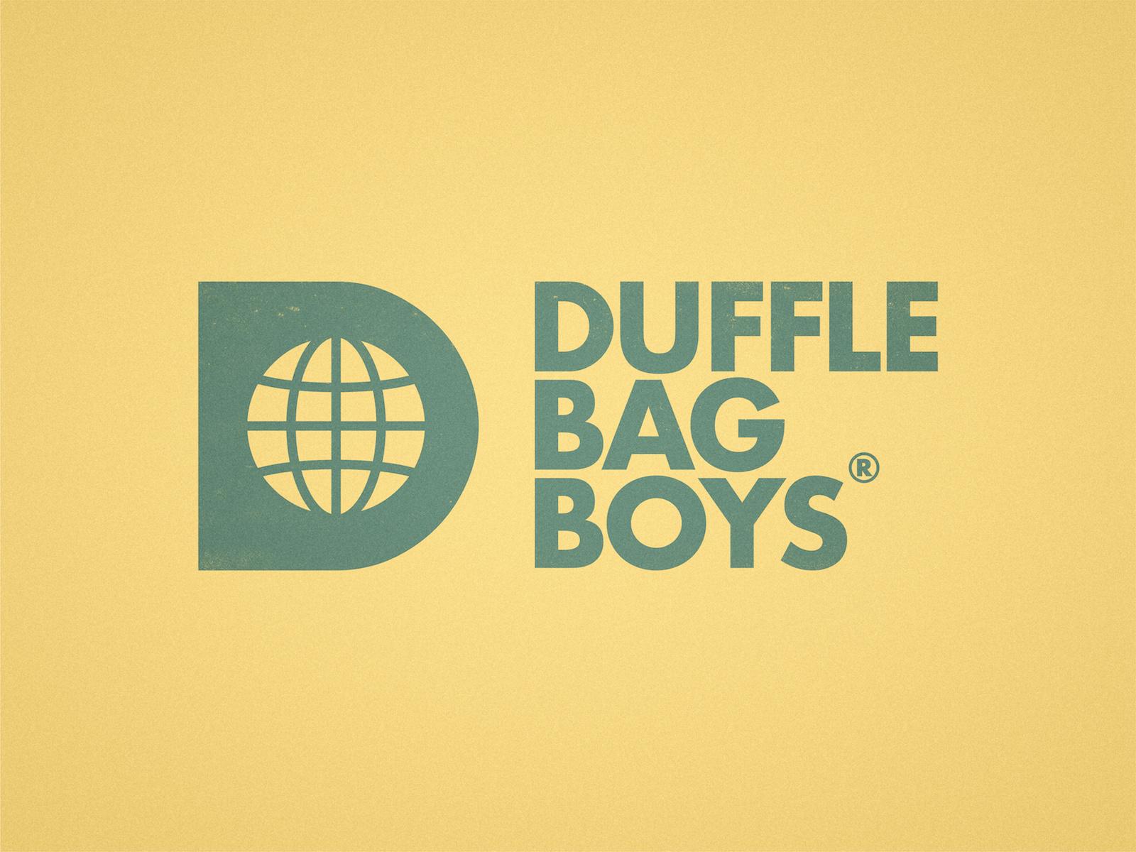 Duffle Bag Boys icon logotype logo bold hustle entrepreneur digital nomad clothing label negative space world globe d