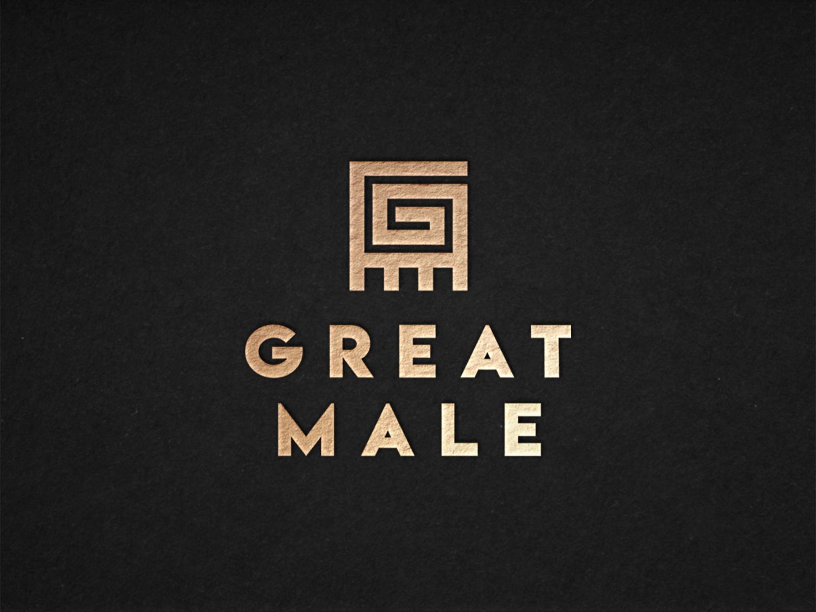 Great Male - Logo Design icon logo bold tribal gm gold african africa masculine man adinkra male