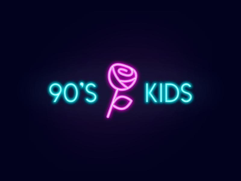90's Kids - Logo Design plant retro nostalgia nineties old school brand branding identity icon mark symbol logo design logotype sign bright fluorescent pink neon light rose flower petal 90s kids music