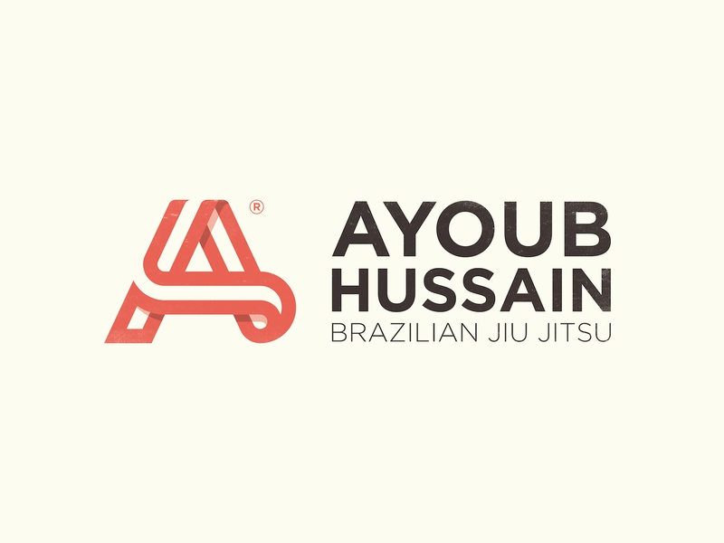 Ayoub Hussain - Logo Design red black vintage logo design mark jiu jitsu fight icon symbol identity h smart belt a letters clever ah monogram initials