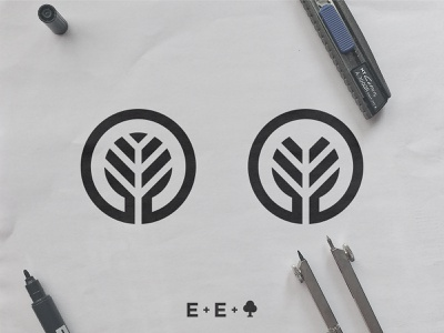 Elegacy Events - Logo Concepts sketch process black and white branch symbol smart mark identity designer icon design e clever letters ee monogram initials negative space logo tree mark event management company legacy events