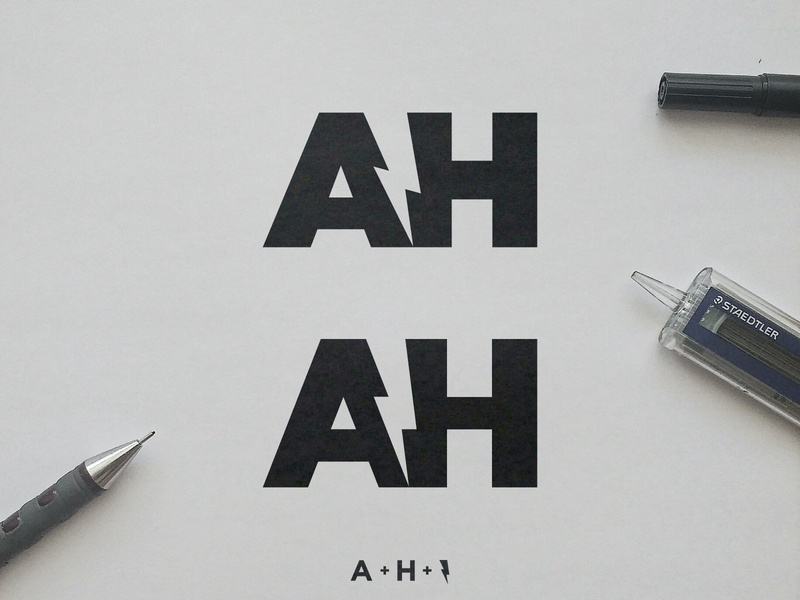 Alex Horncliff - Logo Concepts bold and electric smart mark sketch process negative space logomark lightning bolt identity designer icon design personal trainer logo a h monogram initials ah clever letters volt symbol black and white
