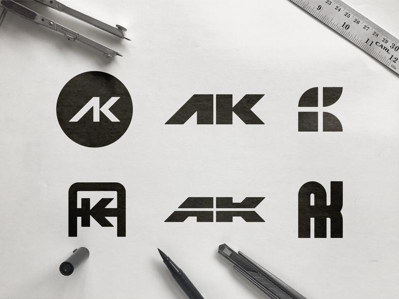 Armor Kote - Logo Concepts multiple choice texture symbol smart redesign clever rebrand pen pencil paper minimalist brand identity bold logodesign ak a k icon clean logomark black and white logos 2d monogram sketch flat logo design
