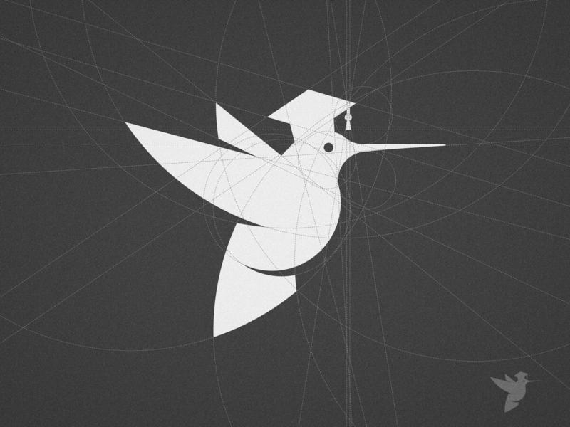 Rawsoul - Logo Breakdown simple grad hat school education graduation cap minimal wing fast wings black and white illustration colibri symbol pet logomark animal mark bird icon geometric grid hummingbirds hummingbird logo design