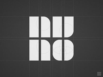 Nuno Melo - Logo Grid lines circles grid layout identity designer n u o logo mark simple font symbol flat 2d geometric nuno monogram letters tipografia portugal logotypedesign type design logotype black white creative