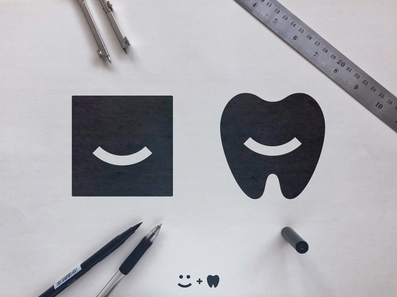The Smile Space - Logo Concepts geometric art emoji negative space dentistry identity designer smart mark teeth sketch process dentist black  white smile logomark design smiley face tooth fairy square logo