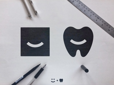 The Smile Space - Logo Concepts geometric art emoji negative space dentistry identity designer smart mark teeth sketch process dentist black  white smile logomark design smiley face tooth fairy square logo