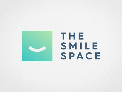 The Smile Space - Logotype Design tooth fairy teeth square logotype smiley face smile logomark smart mark negative space geometric illustration emoji design dentistry identity designer dentist logo blue color green gradient