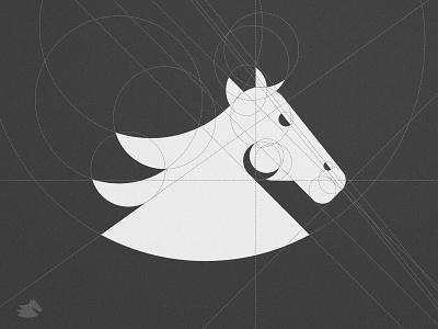 Llamrei - Grid Design brand board mustang symbol grey scale white and black head mark veterinary logomark animals illustrated gridsystem animal art horse racing grid logo geometric design