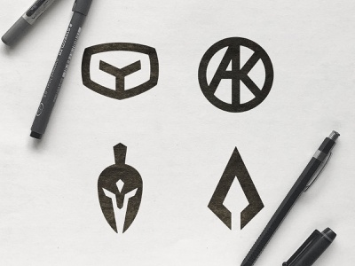 AK Aesthetics - Logo Concepts a letter spear viking sketch war marks knight rider gladiator icon warrior logos sparta mark a logo design spartan symbol ak monogram helmet logomark