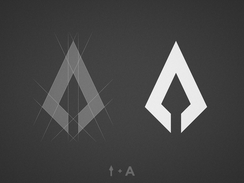 AK Aesthetics - Logo Breakdown upward grey scale pointy arrow black  white geometric logomark spear grid spartan symbol sparta mark logo design branding a letter ak monogram