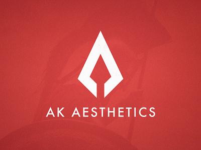 AK Aesthetics - Logotype Design pointy spear logomark arrow logo spartan mark logotype designer logotypedesign geometric design red and white arrow head arrowhead a letter ak monogram