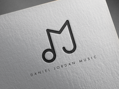 Daniel Jordan Music - Logotype Design musician icon song lyrics sound symbol design melody brand music branding musician logomark dj mark singer logotype music note d j m letters djm monogram black and white logo
