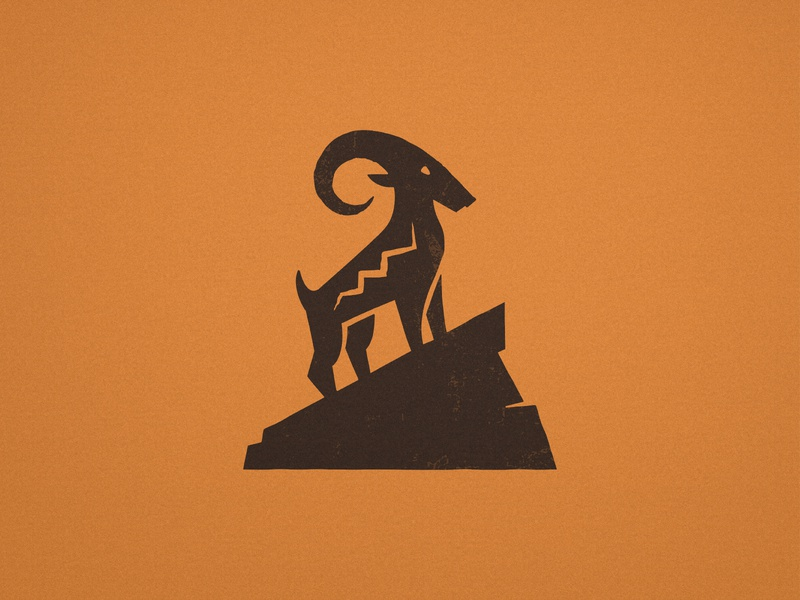 Aztec Goat - Logo Design flat logos warm colors golden spiral mayan rock inca ibex goat horn scar logomark buck mark mexican icon aztec symbol animal logos antler logo design
