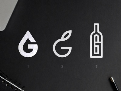 12 Groves - Logo Concepts geometric font logotype designer hidden meaning multiple choice olive logomark g letter negative space logo black  white monogram design bottle mark leaf symbol oil drop