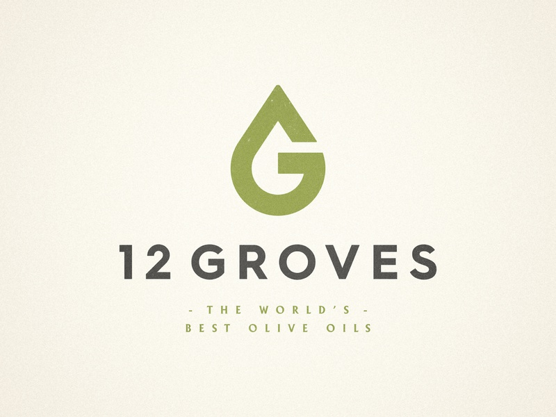 12 Groves - Logo Design premium icon designer vintage badge smart clever green pastel colors olive oil brand oliveoil branding logotype design letter mark monogram hidden meaning g logo drop logomark