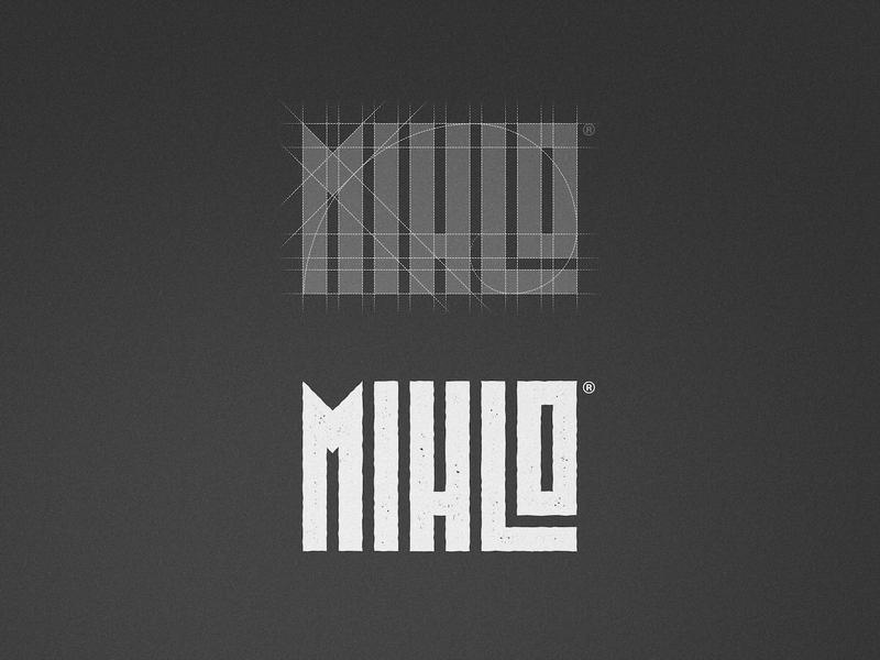 Mihlo - Logotype Grid geometric logos breakdown logo 2d texture raw organic food type designer logotype design logotypedesign rectangle spiral golden grid